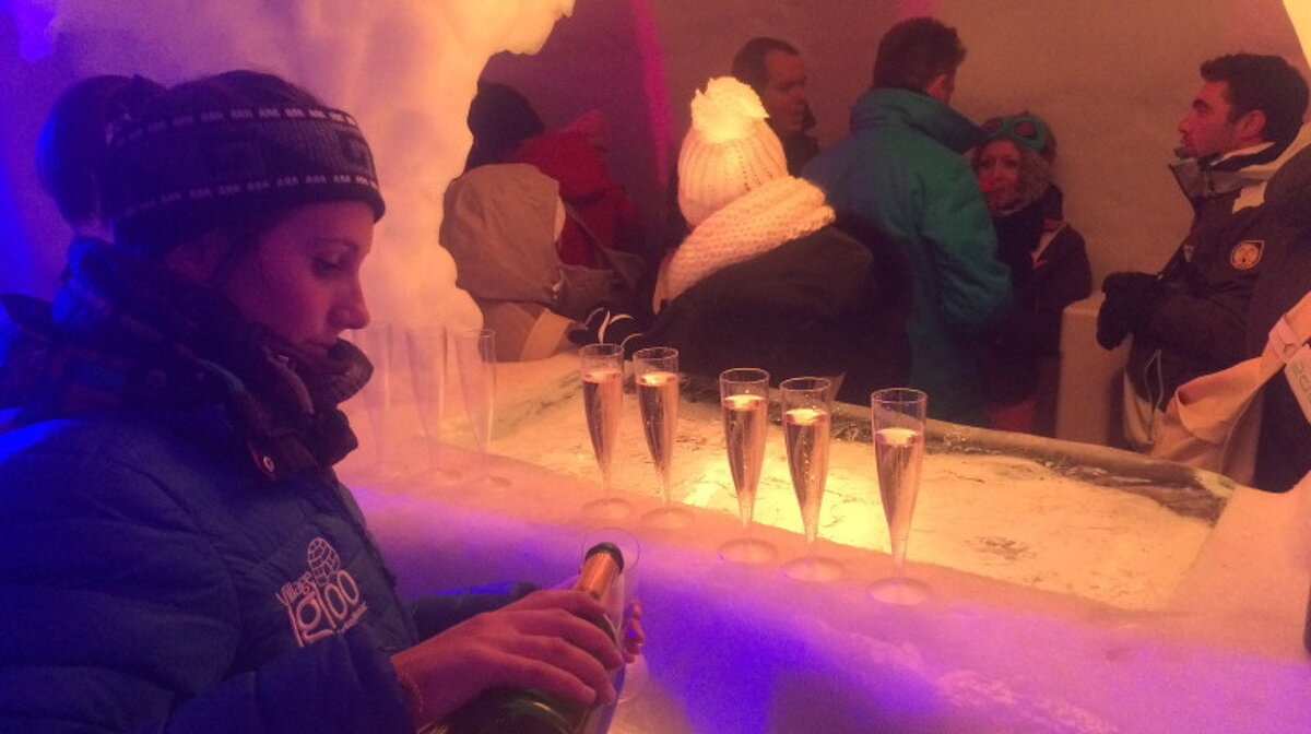 a bar in an igloo in les arcs