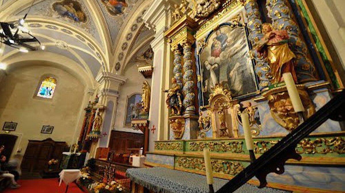 the interior of les allues church