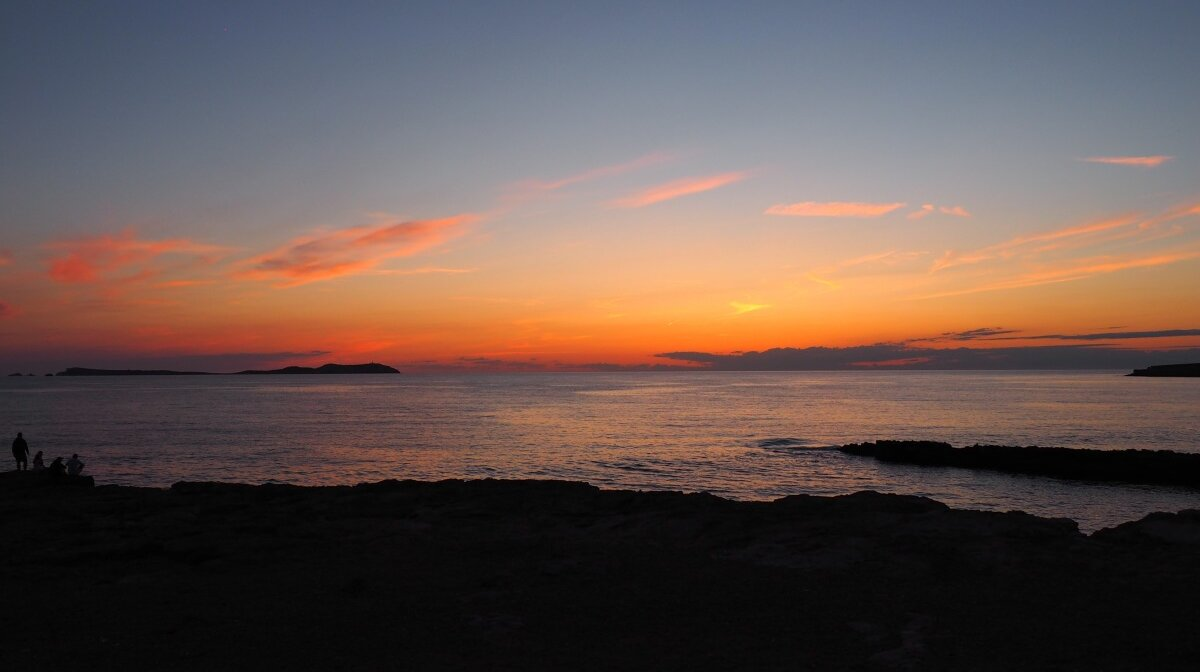 Sunset as seen from sunset strip in san antonio ibiza
