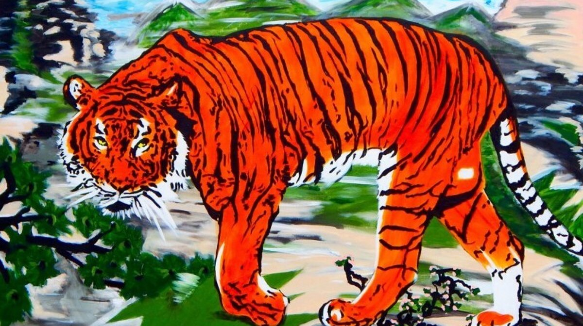 Painting tiger on last legs by adrien brody