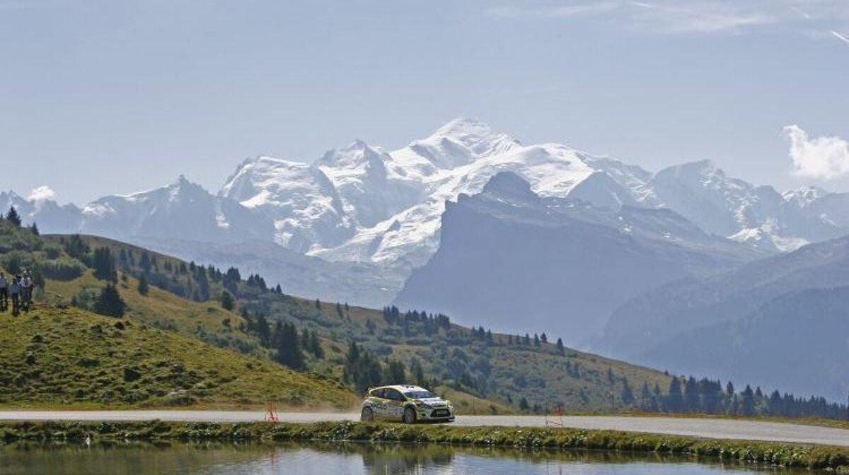 a rally car near mont blanc