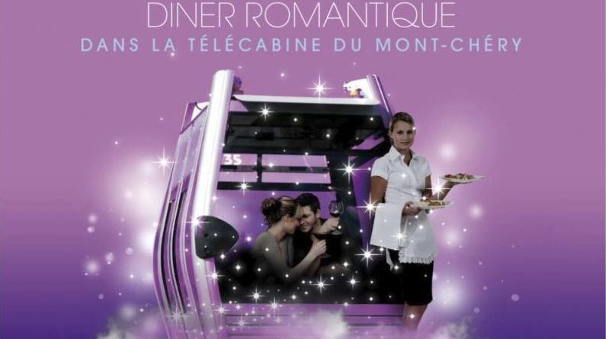 a poster for dinner in the Mont Vhery gondola in les gets