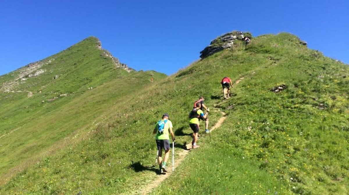 trail runners on the mountain in morzine