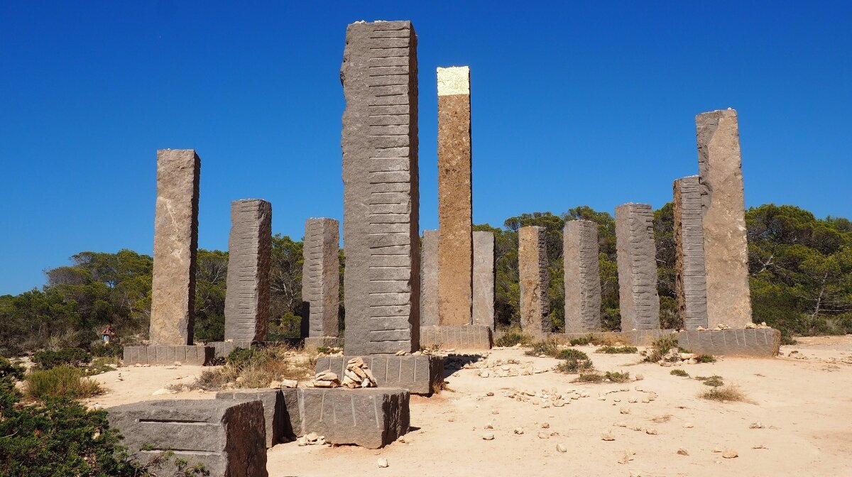 The gold leaf on the central column at stonehenge in south west ibiza